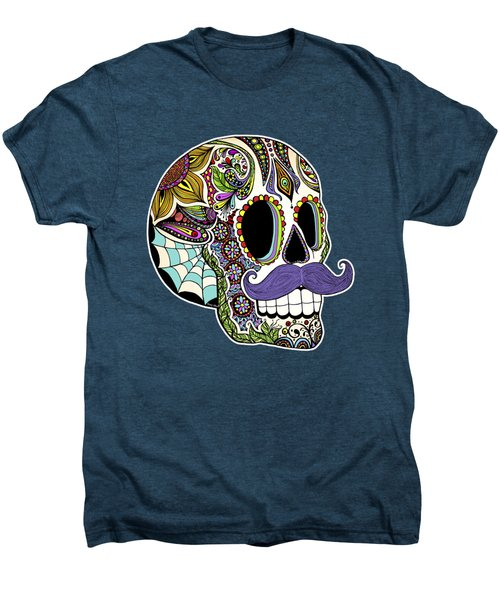 Mustache Sugar Skull Men's Premium T-Shirt by Tammy Wetzel