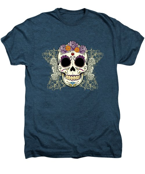 Vintage Sugar Skull And Flowers Men's Premium T-Shirt by Tammy Wetzel