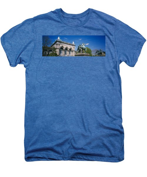 Low Angle View Of A Statue In Front Men's Premium T-Shirt by Panoramic Images