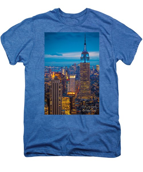 Empire State Blue Night Men's Premium T-Shirt by Inge Johnsson