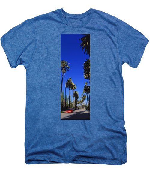 Palm Trees Along A Road, Beverly Hills Men's Premium T-Shirt by Panoramic Images