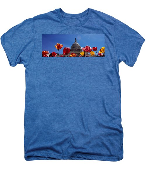 Tulips With A Government Building Men's Premium T-Shirt by Panoramic Images