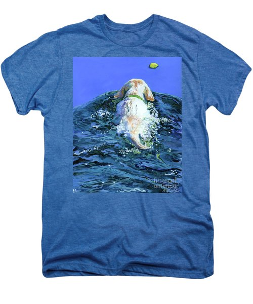 Yellow Lab  Blue Wake Men's Premium T-Shirt by Molly Poole