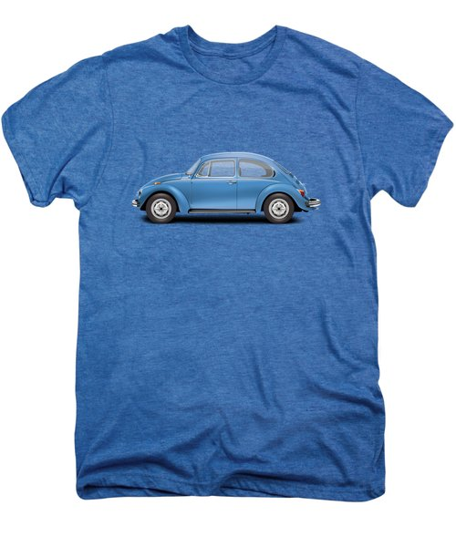 1975 Volkswagen Super Beetle - Ancona Blue Metallic Men's Premium T-Shirt by Ed Jackson
