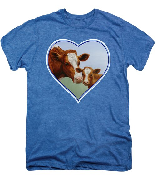 Cow And Calf Blue Heart Men's Premium T-Shirt by Crista Forest