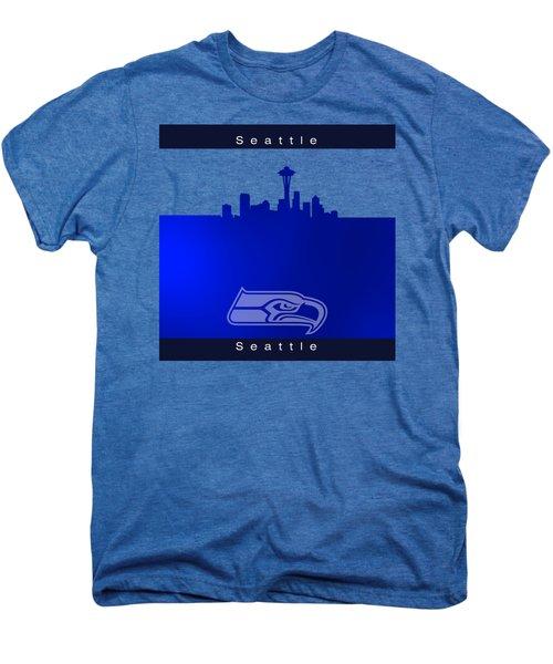 Seattle Seahawks Skyline Men's Premium T-Shirt by Alberto RuiZ
