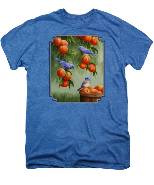Bird Painting - Bluebirds And Peaches Men's Premium T-Shirt by Crista Forest