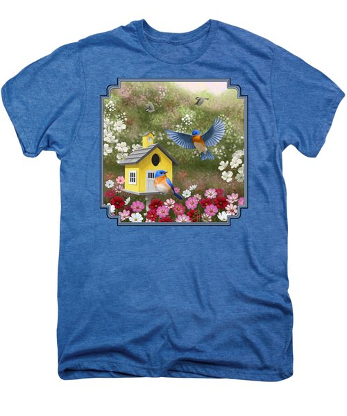 Bluebirds And Yellow Birdhouse Men's Premium T-Shirt by Crista Forest