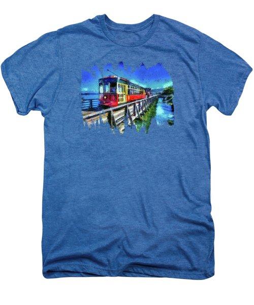 Astoria Riverfront Trolley Men's Premium T-Shirt by Thom Zehrfeld