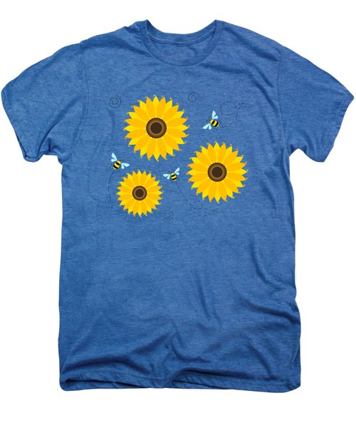 Busy Bees And Sunflowers - Large Men's Premium T-Shirt by Shara Lee