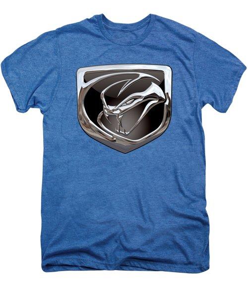 Dodge Viper 3 D  Badge Special Edition On Blue Men's Premium T-Shirt by Serge Averbukh
