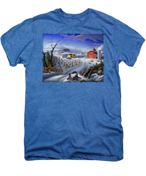 Folk Art Winter Landscape Men's Premium T-Shirt by Walt Curlee