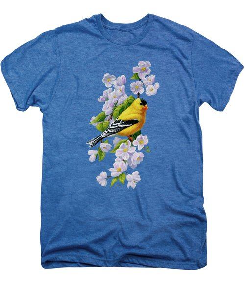 Goldfinch Blossoms Greeting Card 1 Men's Premium T-Shirt by Crista Forest