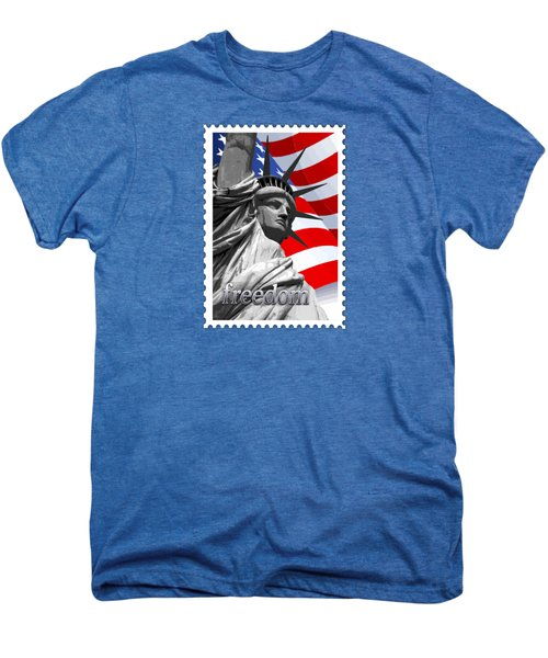 Graphic Statue Of Liberty With American Flag Text Freedom Men's Premium T-Shirt by Elaine Plesser