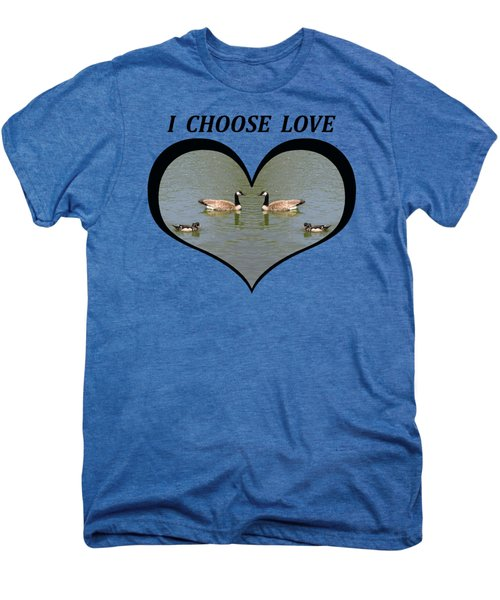 I Chose Love With A Spoonbill Duck And Geese On A Pond In A Heart Men's Premium T-Shirt by Julia L Wright