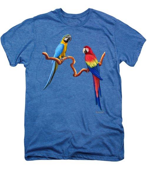 Macaw Tropical Parrots Men's Premium T-Shirt by Glenn Holbrook
