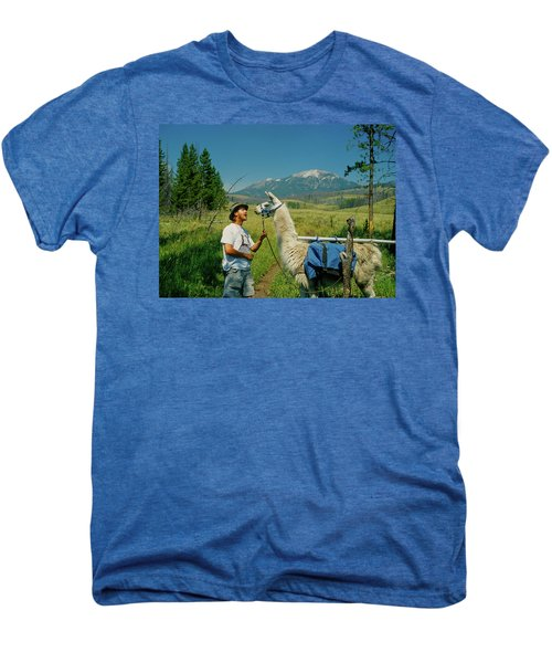 Man Teasing A Llama Men's Premium T-Shirt by Jerry Voss