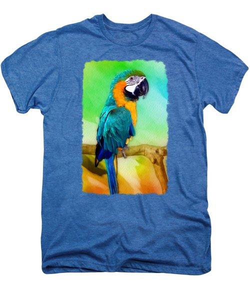 Maya - Macaw Parrot  Men's Premium T-Shirt by Linda Koelbel
