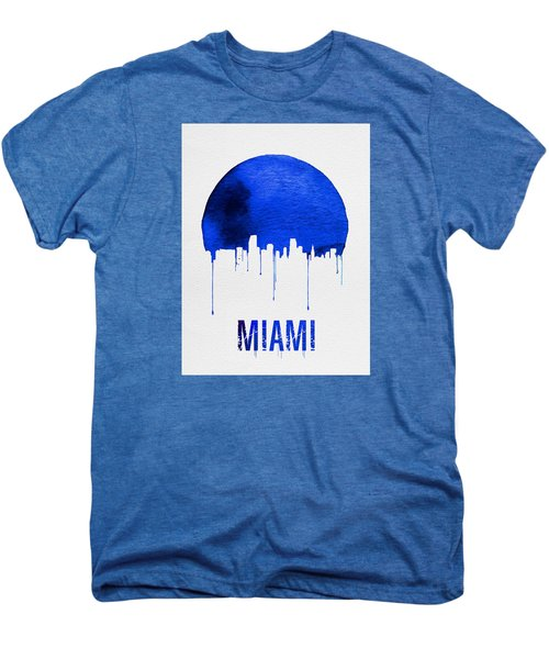 Miami Skyline Blue Men's Premium T-Shirt by Naxart Studio