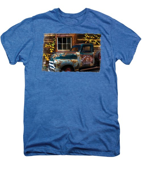 Moonshine Express Bordered Men's Premium T-Shirt by Debra and Dave Vanderlaan
