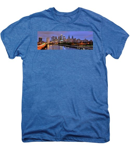 Philadelphia Philly Skyline At Dusk From Near South Color Panorama Men's Premium T-Shirt by Jon Holiday