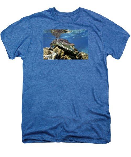 Saltwater Crocodile Smile Men's Premium T-Shirt by Mike Parry