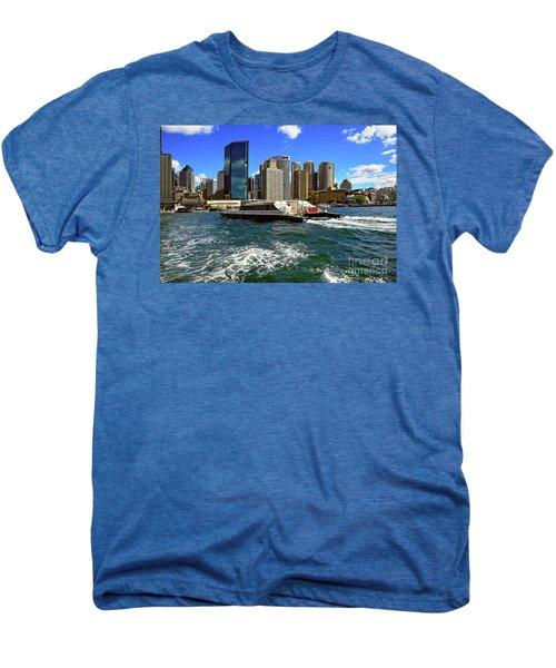 Sydney Skyline From Harbor By Kaye Menner Men's Premium T-Shirt by Kaye Menner
