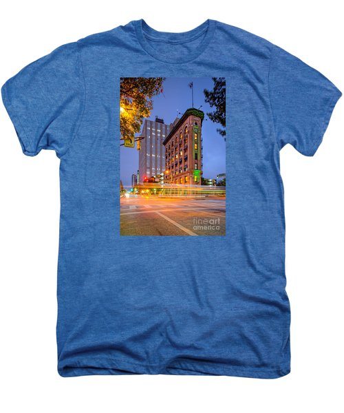 Twilight Photograph Of The Flatiron Building In Downtown Fort Worth - Texas Men's Premium T-Shirt by Silvio Ligutti