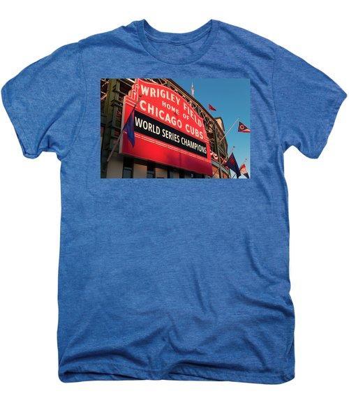 Wrigley Field World Series Marquee Angle Men's Premium T-Shirt by Steve Gadomski