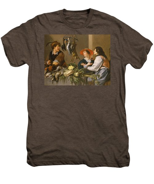 Game And Vegetable Sellers Oil On Canvas Men's Premium T-Shirt by Theodor Rombouts