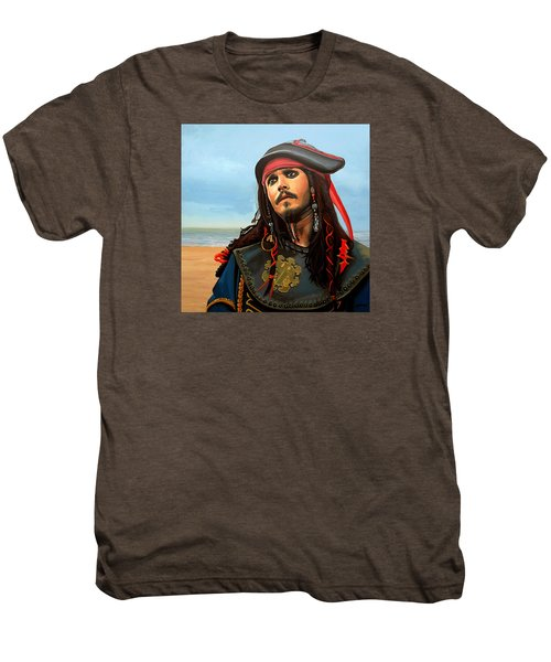 Johnny Depp As Jack Sparrow Men's Premium T-Shirt by Paul Meijering