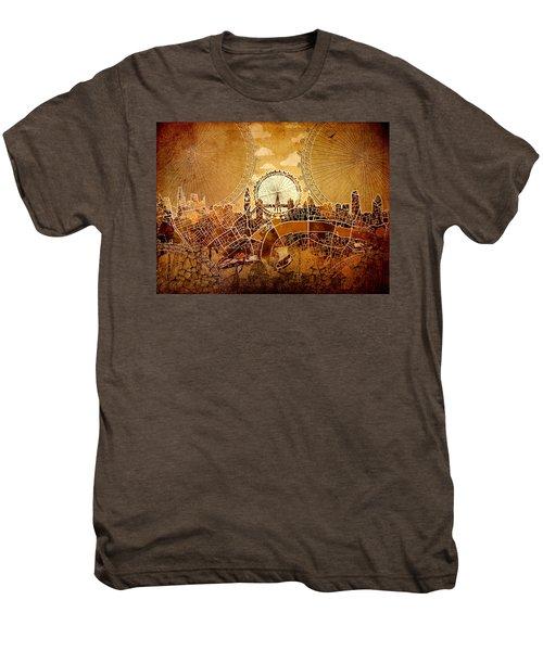 London Skyline Old Vintage  Men's Premium T-Shirt by Bekim Art
