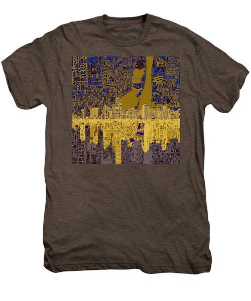Miami Skyline Abstract 3 Men's Premium T-Shirt by Bekim Art