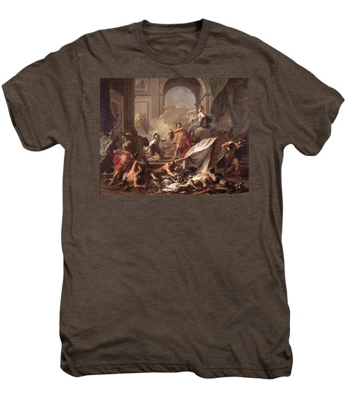 Perseus, Under The Protection Of Minerva, Turns Phineus To Stone By Brandishing The Head Of Medusa Men's Premium T-Shirt by Jean-Marc Nattier