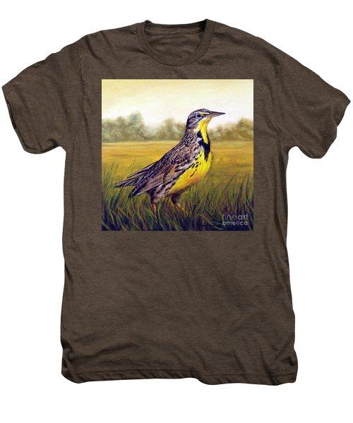 Western Meadowlark Afternoon Men's Premium T-Shirt by Tom Chapman