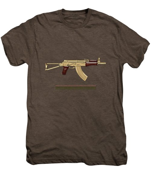 Gold A K S-74 U Assault Rifle With 5.45x39 Rounds Over Red Velvet   Men's Premium T-Shirt by Serge Averbukh