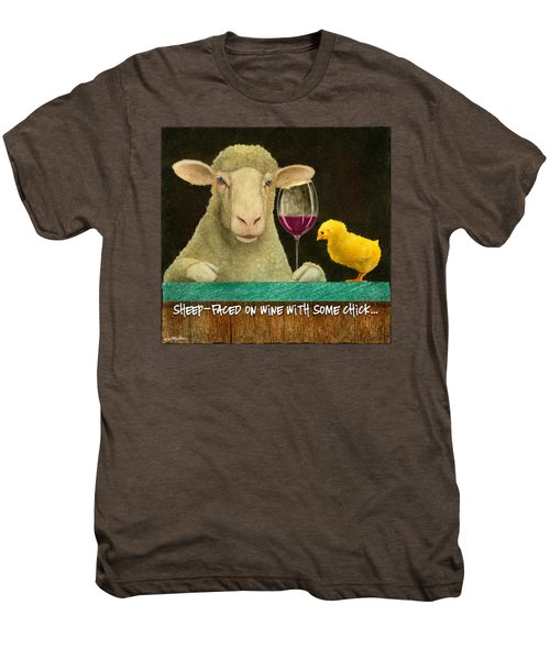 Sheep Faced On Wine With Some Chick... Men's Premium T-Shirt by Will Bullas