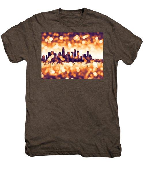 Los Angeles California Skyline Men's Premium T-Shirt by Michael Tompsett