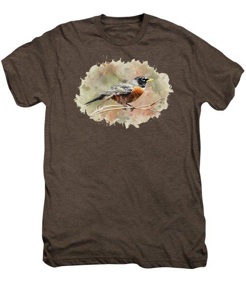 American Robin - Watercolor Art Men's Premium T-Shirt by Christina Rollo