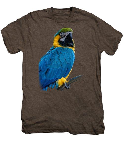 Blue Yellow Macaw No.2 Men's Premium T-Shirt by Mark Myhaver