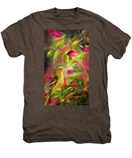 Baltimore Oriole Art- Baltimore Female Oriole Art Men's Premium T-Shirt by Lourry Legarde