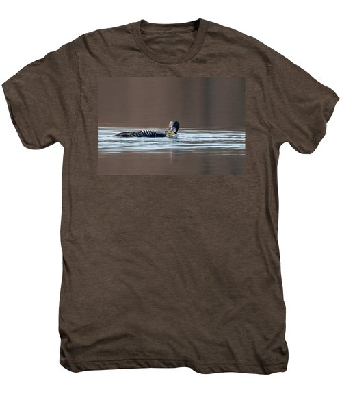 Feeding Common Loon Men's Premium T-Shirt by Bill Wakeley