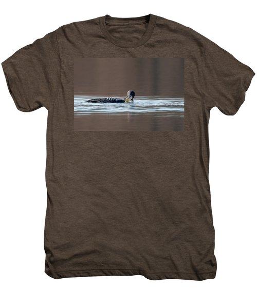 Feeding Common Loon Men's Premium T-Shirt by Bill Wakeley