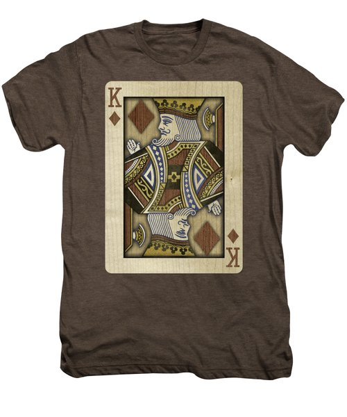 King Of Diamonds In Wood Men's Premium T-Shirt by YoPedro
