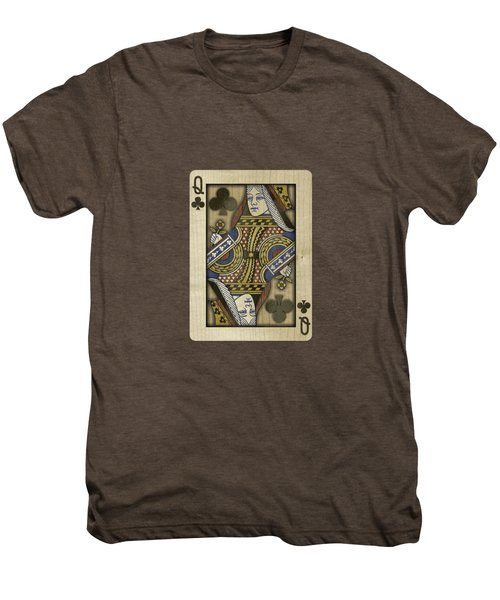 Queen Of Clubs In Wood Men's Premium T-Shirt by YoPedro