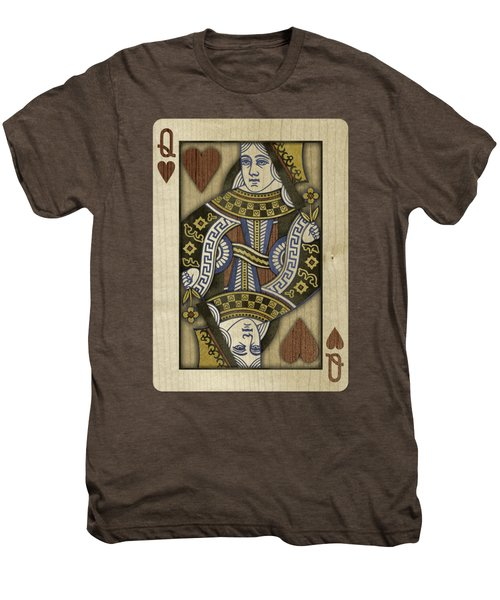 Queen Of Hearts In Wood Men's Premium T-Shirt by YoPedro