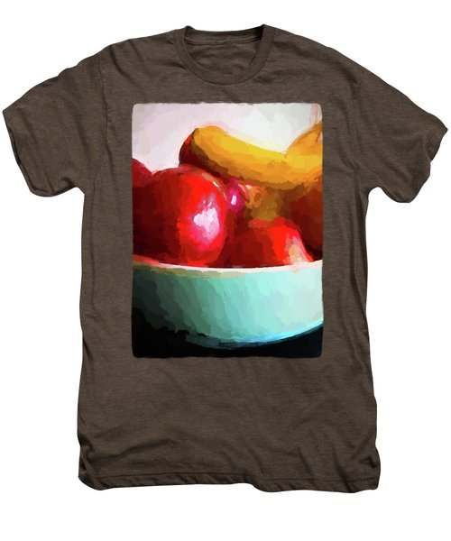 Red Apples In A Blue Bowl Men's Premium T-Shirt by Jackie VanO