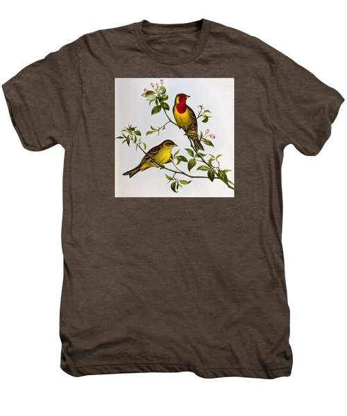 Red Headed Bunting Men's Premium T-Shirt by John Gould