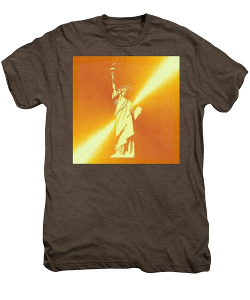 Sunstrike On Statue Of Liberty Men's Premium T-Shirt by Clive Littin