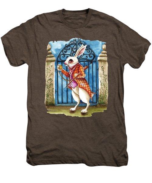 The White Rabbit Late Again Men's Premium T-Shirt by Lucia Stewart